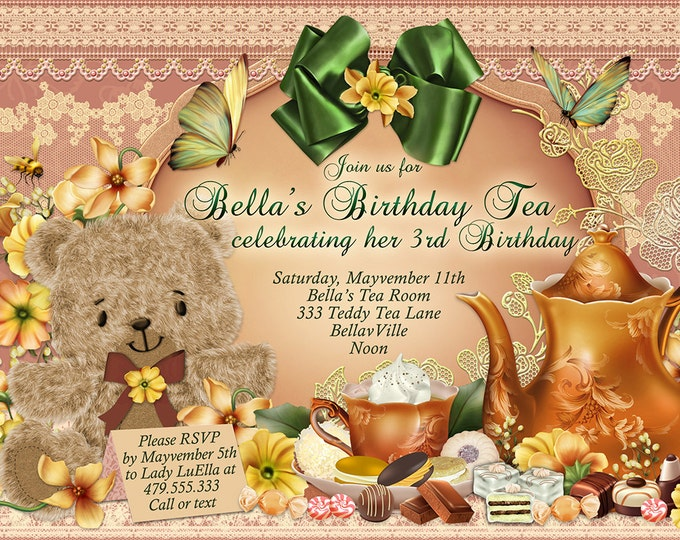Teddy Bear Tea Party Invitation, Teddy Tea Party, Teddy and Me Tea Party