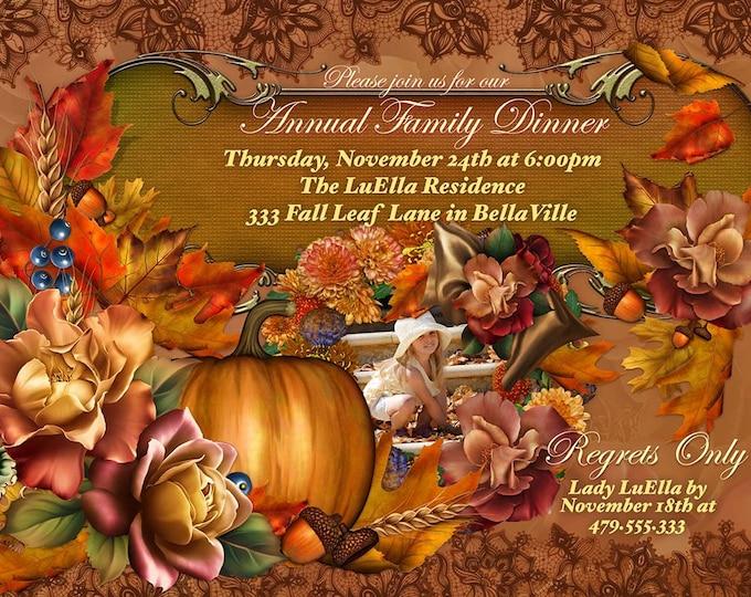 Photo Thanksgiving Dinner Invitation, Thanksgiving Party Invite, Photo Fall Birthday Invitation, Autumn Birthday Photo