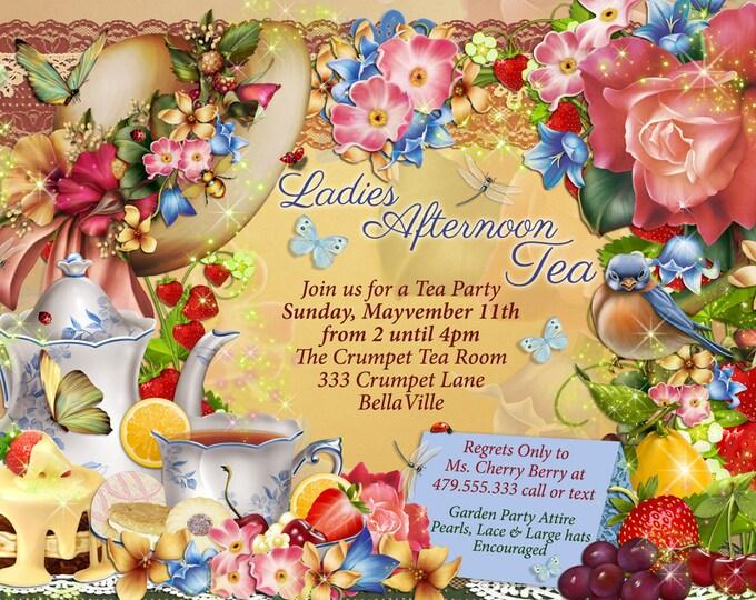 Tea Party Invitation, Garden Tea Party, Party Invitations, Birthday Tea Party, Tea Parties