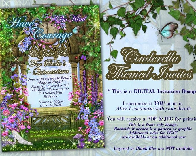 Fairytale Party Invitations, CinderBella Inspired Invitations, Storybook Fantasy Party Invitations