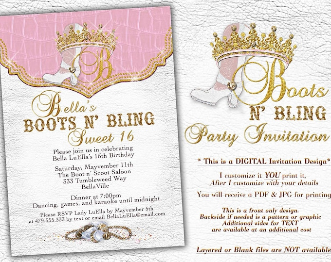 Boots Bling Sweet 16, Sweet 16 Invitations, Western Birthday Invitations, Charra Quince, Western Theme Dance, Mis Quince Anos