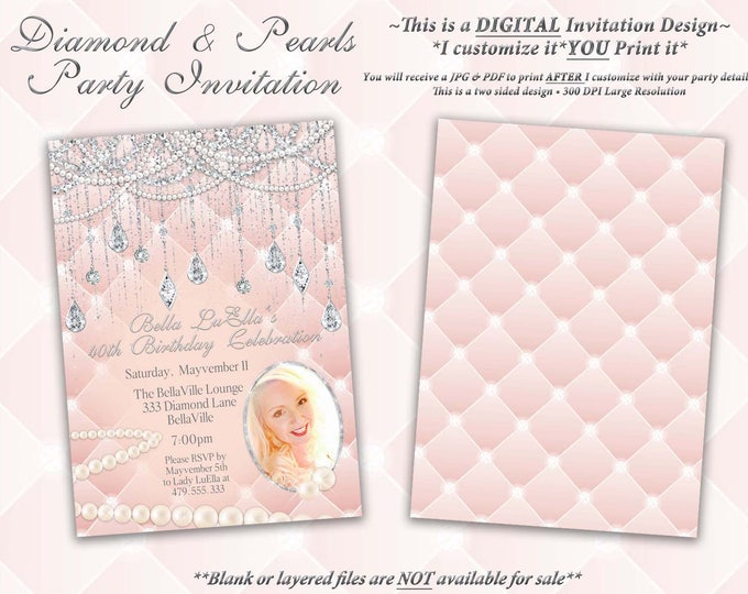 Photo Diamond and Pearl Invitation, Birthday, Sweet 16 Invitation, Quinceanera, Bling Party Invitations