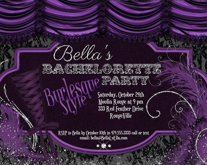 Burlesque Bachelorette Party Invitation, Bachelorette Invitations