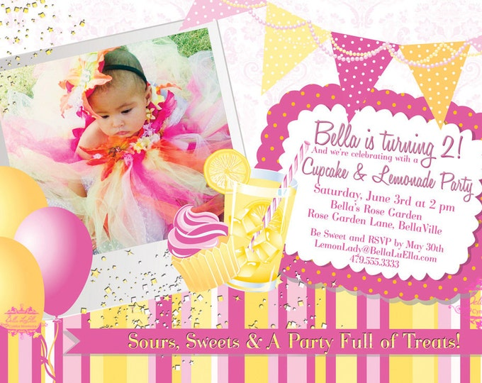 Pink Lemonade Party Invitation, Photo Card Invitations, Summer Party Invitations, Pink Lemonade Party