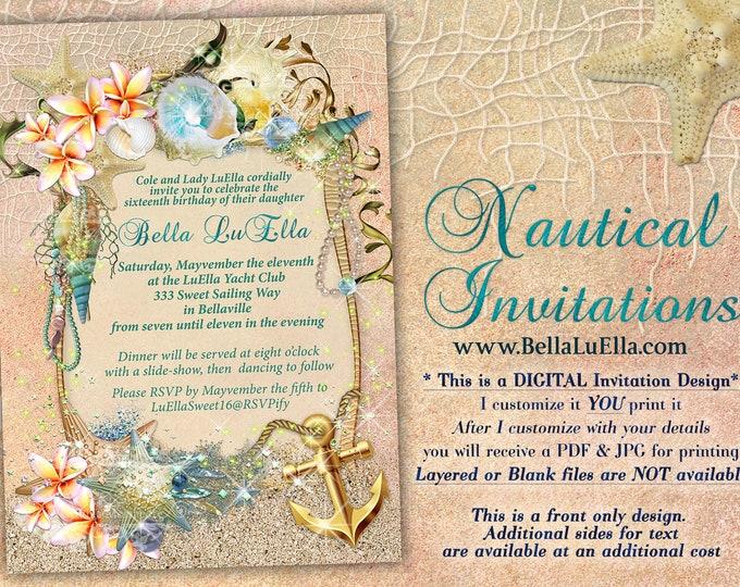 Summer Beach Theme Party, Seashells Sand Anchor Invitation, Nautical Theme Party Invitation, Nautical Beach Theme Shower, Nautical Birthday