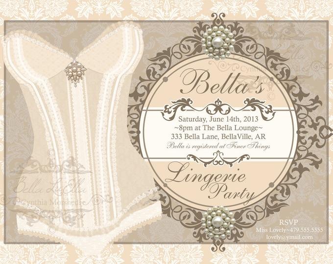 Lingerie Party Invitation, Bachelorette Party, Bridal Shower, Party Invitations, Corset Invitations, Burlesque Invitations