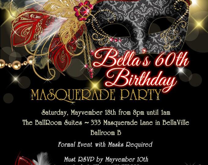 Masquerade Party Invitation, Mardi Gras Party, Mis Quince Party Invitations, Sweet 16 Masquerade Invitations, Masquerade Prom Dance