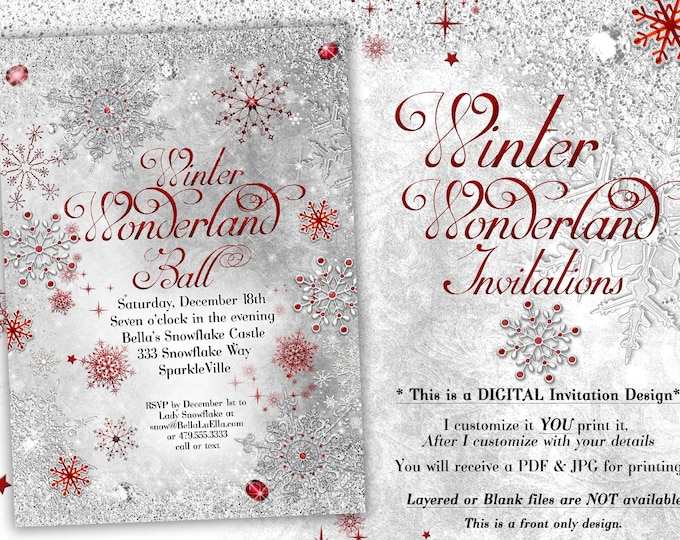 White Red Silver Snowflake Invitation, Winter Wonderland Party Invitation, Snowflake Holiday Invitation, Christmas Party Invitation
