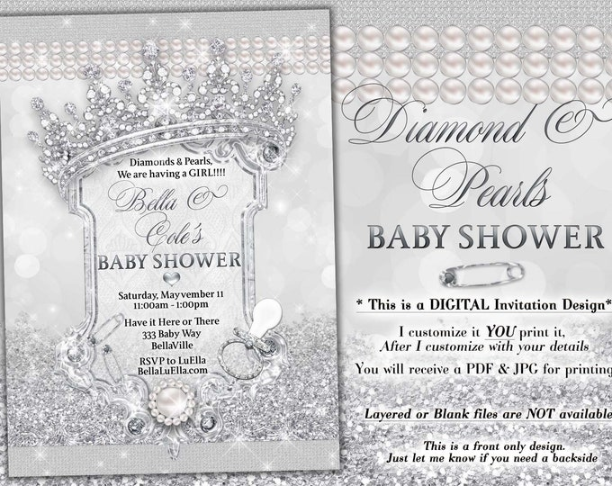 Diamond Bling Princess Baby Shower Invitation, Baby Shower Bling, White Glitter Princess Baby, Baby Showers, Diamond and Pearls Baby Shower