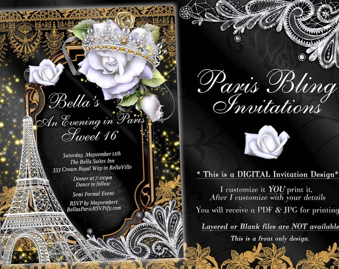 Paris Bling Party Invitations, Gold White Black Bling Paris Sweet 16 Quinceanera Invitations, Mis Quince Anos Paris, Eiffle Tower White Rose