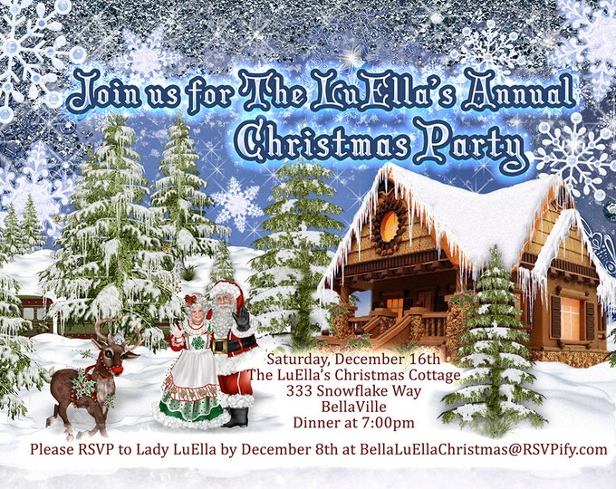 Santas Village Party, Santa Village Invitation, North Pole Party, Mr and Mrs Claus