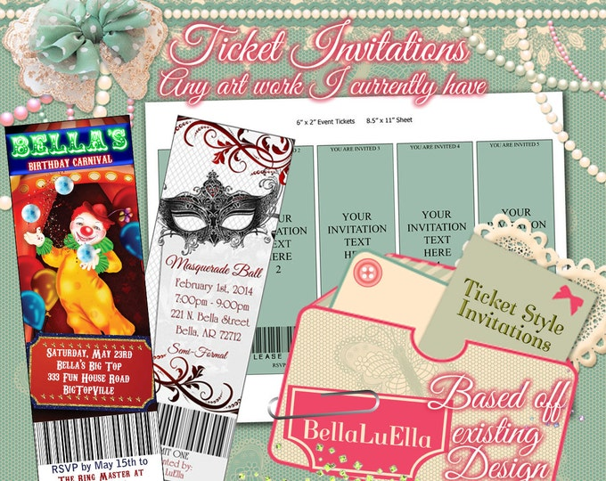 Ticket Invitations, Birthday Party Tickets, Ticket Style Party Invites