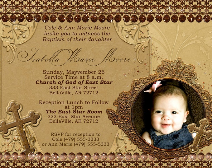 Photo Baptism Christening Invitation, Religious Announcement