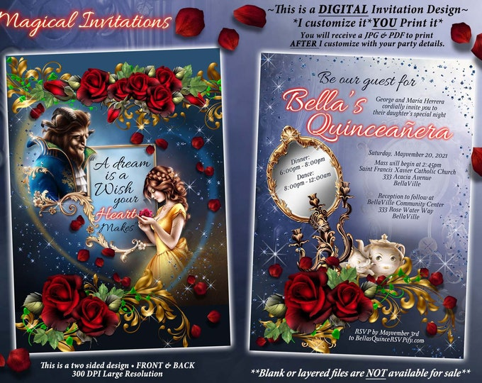 Enchanted Rose Party Invitation, Belle and a Beast, Mis Quince Anos, Sweet 16 Birthday, Themed Birthday Party Invitations