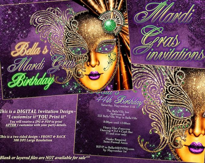 Mardi Gras Party Invitation, Masquerade Invitation, Masquerade Party, Mardi Gras Engagement Shower, Mardi Gras Theme Birthday Invitation