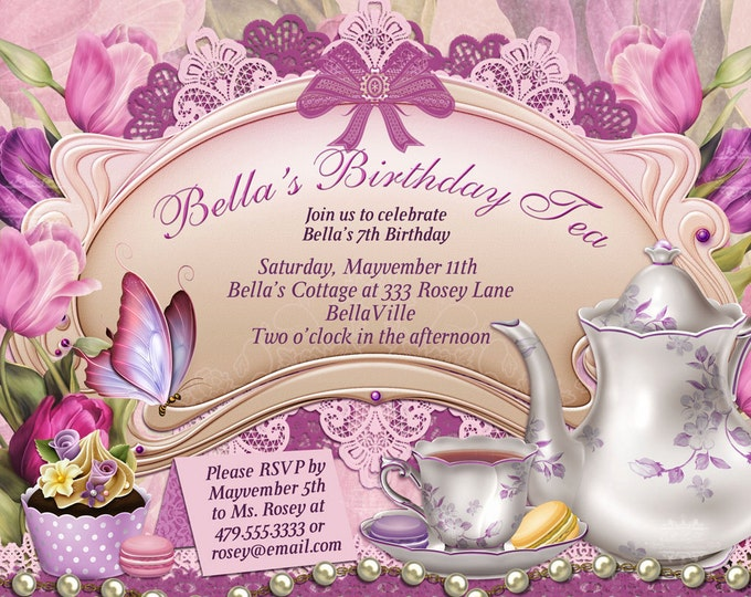 Tea Party Invitation, Birthday Tea Party, Tea Party, Garden Tea Party, Party Invitations, Bridal Shower Tea