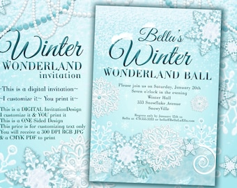 Frozen Winter Wonderland Party Winter Snowflake Invitation Etsy