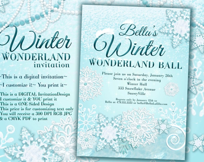 Winter Wonderland Party, Winter Invitation, Winter Party Invitation, Frozen Snow Party