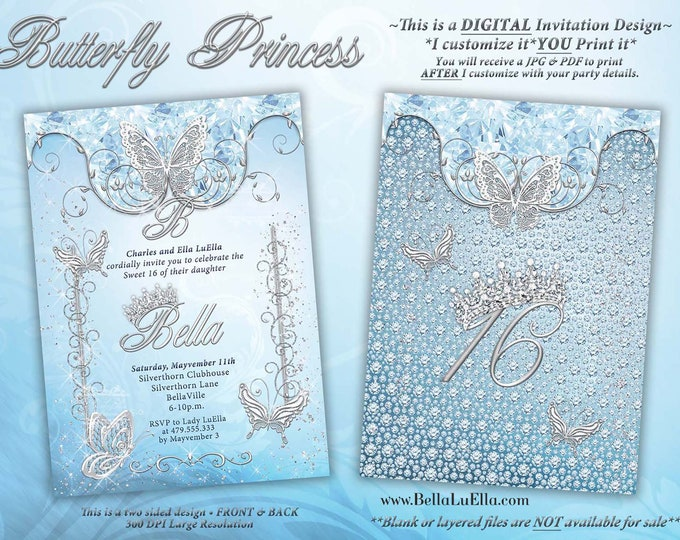 Butterfly Princess Party Invitation, Butterfly Tiara Sweet 16, Mis Quince Anos, Bling Diamond Tiara Princess Invitation, Diamond Tiara