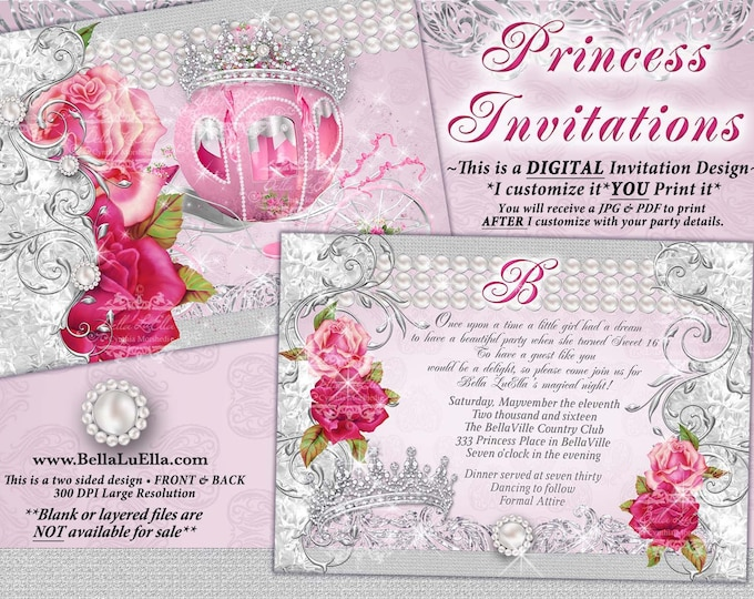 Mis Quince Anos, CinderBella Carriage Invitation, Princess Party, Princess Carriage Invitation, Princess Sweet 16 Birthday, Bling Diamond