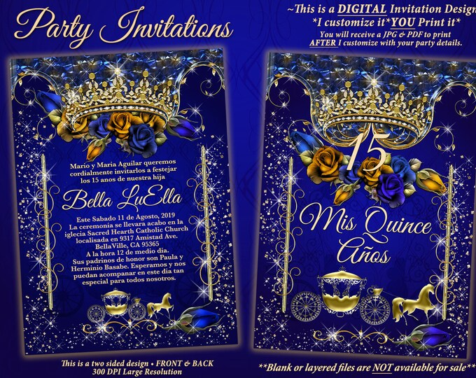 Royal Blue Gold Rose Tiara Gold Carriage Invitation, Quinceanera Invitation, Birthday Party Invitations, Sweet 16 Party, Mis Quince Años