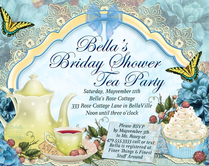 Tea Party Invitation, Garden Tea Party, Party Invitations, Birthday Tea Party, Tea Parties
