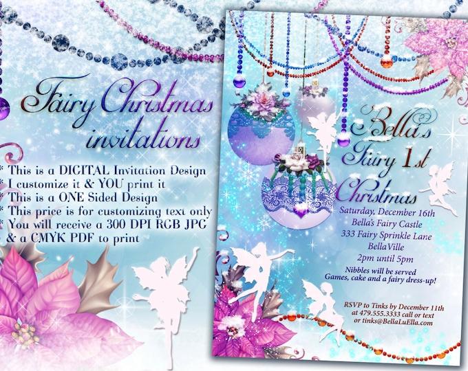 Fairy Holiday Card Invitations, Fairy Christmas Party Invites, Victorian Holiday Party Invitations, Pink Victorian Christmas Holiday Party
