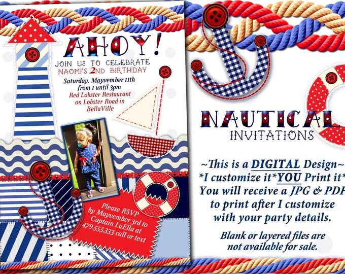 Photo Nautical Theme Party Invitation, Nautical Theme Showers, Nautical Birthday