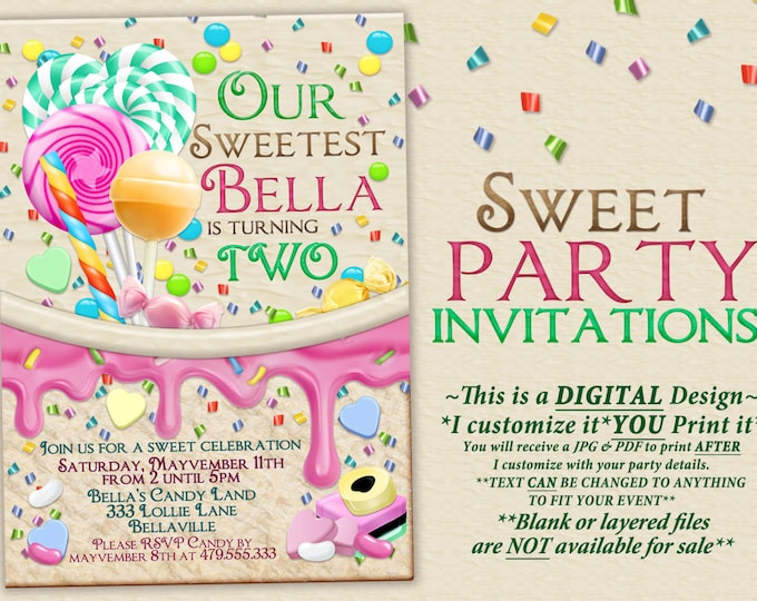 Candy Land Birthday Party Invitation, Birthday Party Invitations, Candy Party, Party Invitations