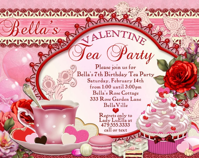 Valentine Tea Party Invitation, Valentines Day Party, Tea Party Invitations