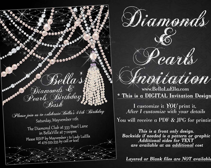 Diamond and Pearl Invitation, Sweet 16 Invitation, Quinceanera, Bling Party Invitations, Diamonds and Pearls Anniversary Dinner, Bling Diva