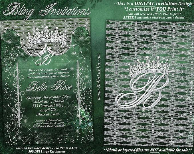 Bling Diamond Party Invitations, Diamond Quince, Diamond Sweet 16 Party, Mis Quince Anos, Green Bling Princess Invitation