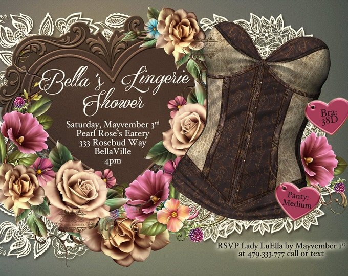 Lingerie Shower Invitation, Bachelorette Party, Bridal Shower, Party Invitations, Corset Invitations, Burlesque Invitations