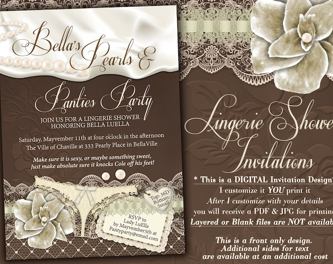 Pearls and Panty Party, Lingerie Shower Invitation, Bachelorette Party Invitations
