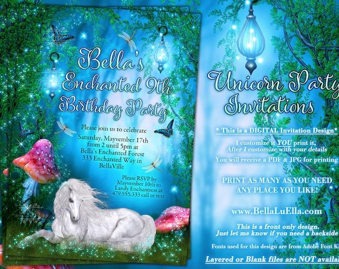Unicorn Enchanted Forest Party, Enchanted Wood Invitation, Unicorn Woodland Party, Unicorn Forest Birthday, Fantasy Woodland