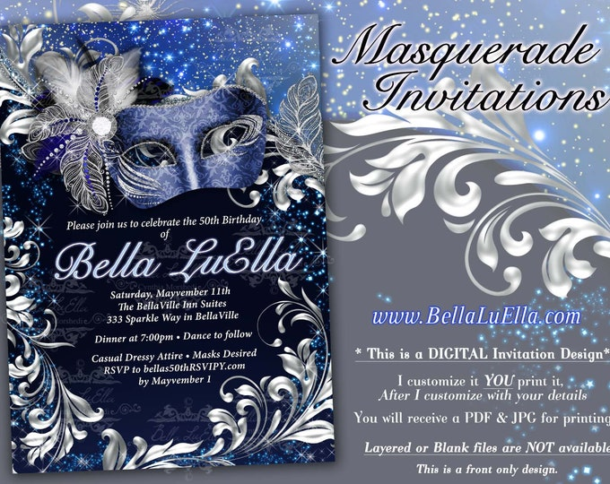 Masquerade Party Invitation, Mardi Gras Party, Party Invitations, Masquerade Invitations, Navy Blue Silver Masquerade, Mis Quince Anos