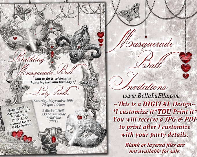 Masquerade Party Invitation, Mardi Gras Party, Party Invitations, Masquerade Invitations, Mis Quince Anos, White Silver Masquerade Ball