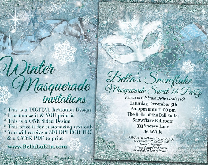 Winter Wonderland Sweet 16, Winter Snowflake Invitation, Winter Party Invitation, Snowflake Invitation,Mis Quince Anos