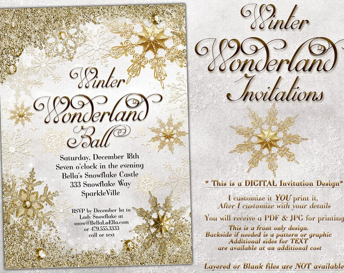 White Gold Snowflake Invitation, Winter Wonderland Party Invitation, Snowflake Holiday Invitation, Christmas Party Invitation, Bling Snow
