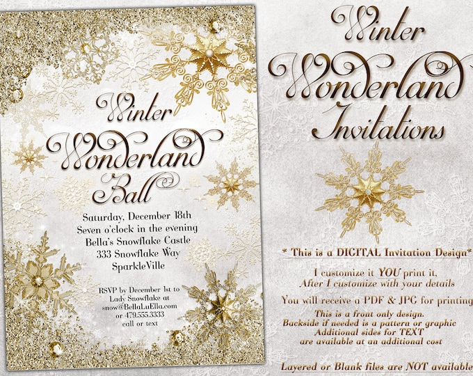 White Gold Snowflake Invitation, Winter Wonderland Party Invitation, Snowflake Holiday Invitation, Christmas Party Invitation