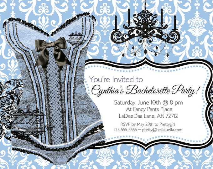Bachelorette Invitation, Lingerie Shower Invitations, Burlesque Invitations, Corset Invitations, Bachelorette Party