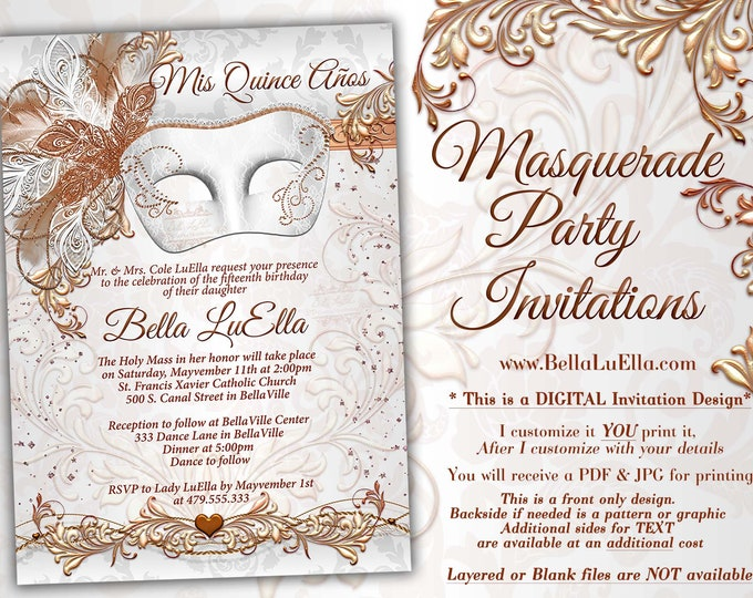 Rose Gold Masquerade Party Invitation, Mardi Gras Party, Party Invitations, Masquerade Invitations, Mis Quince Anos, Quinceanera, Rose Gold