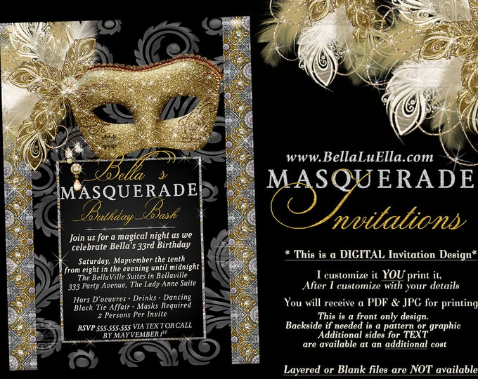 Bling Glitter Masquerade Party Invitation, Mardi Gras Party, Party Invitations, Gold Silver Glitter Masquerade, Mis Quince Anos, Sweet 16