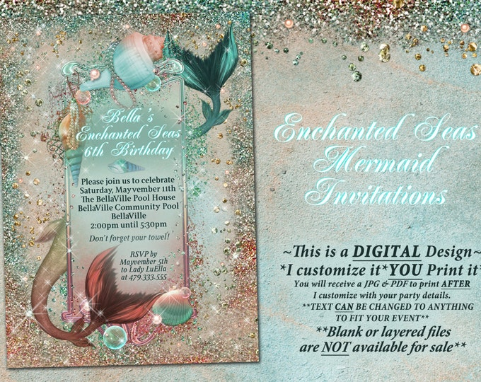 Mermaid Invitations, Mermaid Party, Mermaid Pool Party, Mermaid Birthday Party Invitations