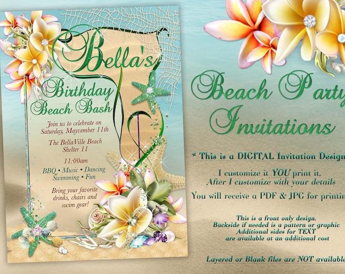 Summer Party, Beach Party Invitation, Luau Invitations, Nautical Beach Party