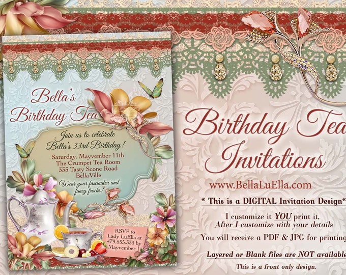 Tea Party Invitation, Bridal Tea Party, Garden Tea Party, Bridal Tea Shower, Mothers Day Tea Party, Bridal Shower Tea, Garden Party