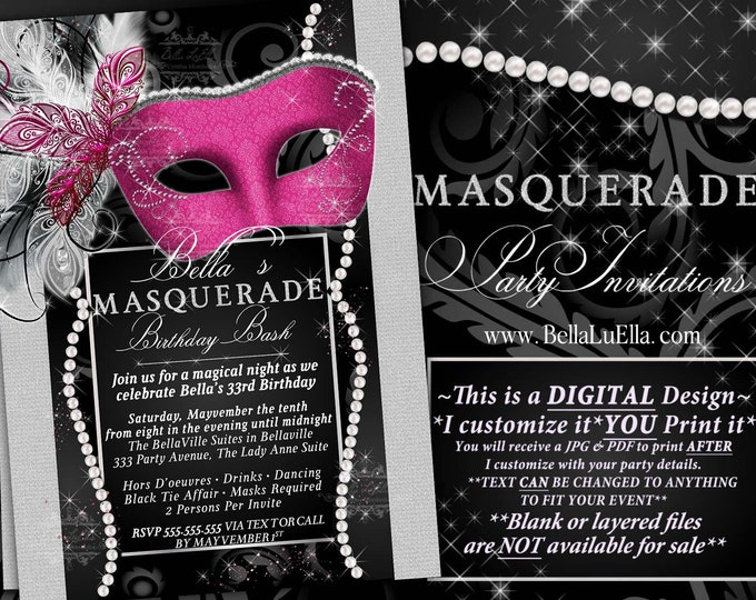 Masquerade Party Invitation, Mardi Gras Party, Masquerade Invitations, Mis Quince Anos, Masquerade Sweet 16, Pink Black Bling Pearl Diamond