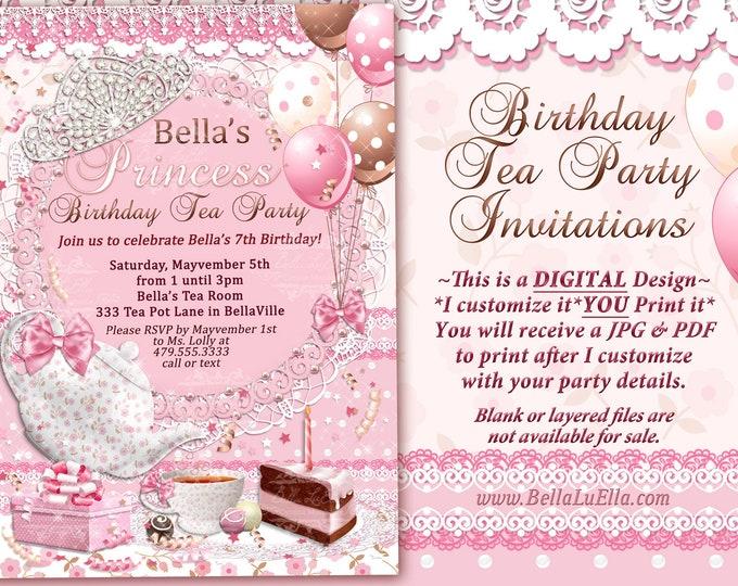 Tea Party Invitation, Princess Tea Party, Birthday Tea Party, Pink Tea Party, Tea Cake Balloons, Tiara