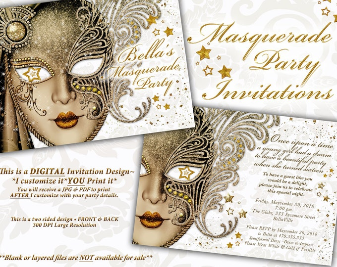 Masquerade Party Invitation, Mardi Gras Party, Party Invitations, Masquerade Invitations, Gold White Masquerade