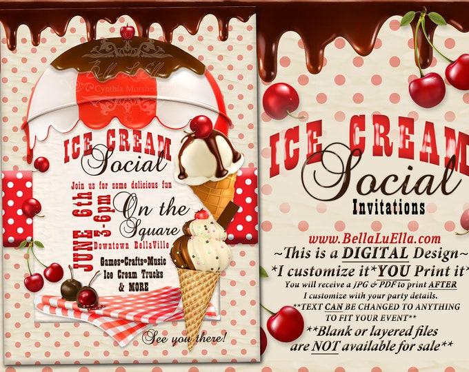 Ice Cream Social Invitation, Ice Cream Party, Birthday Party Invitations, Summer Party, Ice Cream Cones Chocolate, Cherries Chocolate